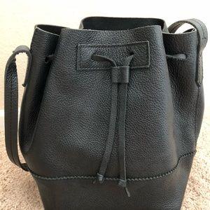 J. Crew black leather bucket bag